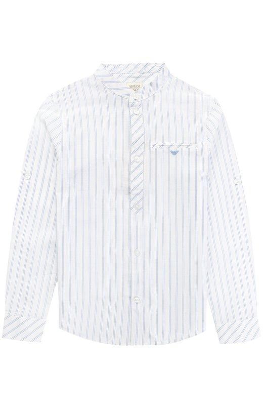 Хлопковая рубашка с принтом и воротником-стойкой Giorgio Armani 3Y4C05/4NDQZ/4A-10A