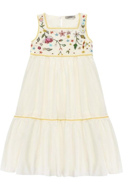 Хлопковое платье-макси свободного кроя с вышивками и бисером Ermanno Scervino 40I/AB37/4-8