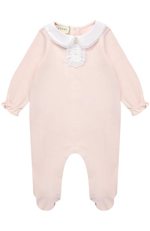 Хлопковая пижама с кружевной отделкой Gucci 463158/X5N21
