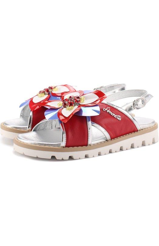 Кожаные сандалии с металлизированной отделкой и декором Simonetta 47370/28-35