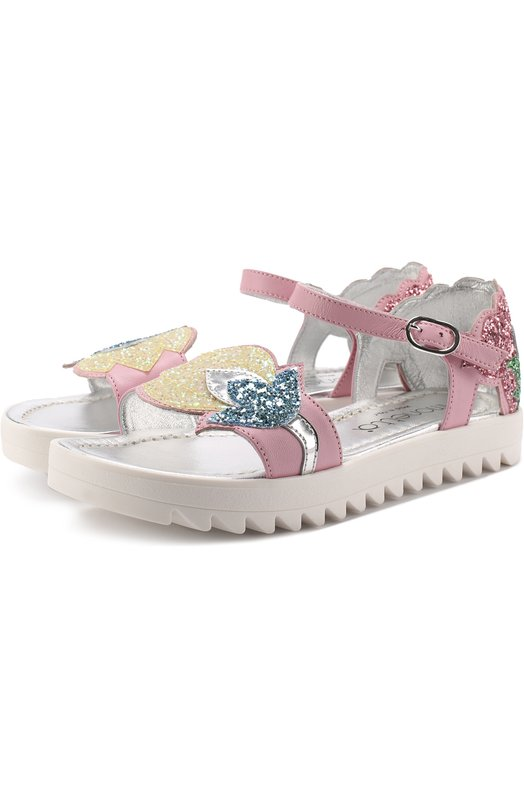 Кожаные сандалии с аппликациями и глиттером Simonetta 47251/28-35