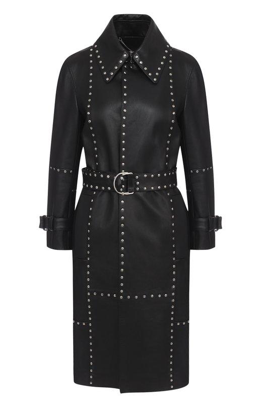 Кожаное пальто с поясом и металлическими заклепками Balenciaga 457885/TTH05