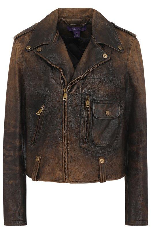Укороченная кожаная куртка с косой молнией Ralph Lauren 911/XZDH0/XYDH0