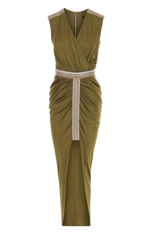 Приталенное платье с высоким разрезом и драпировкой Balmain 3451/229M