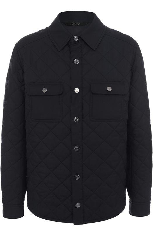 Купить Шелковая стеганая куртка с отделкой из натуральной кожи Brioni, SLQ1/P6402, Италия, Темно-синий, Шелк: 100%; Отделка кожа натуральная: 100%; Подкладка-полиамид: 100%;