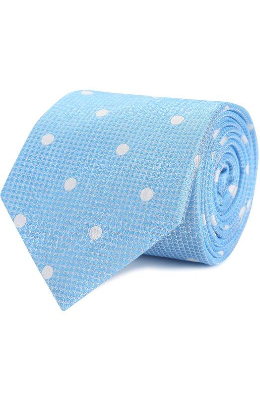 Купить Шелковый галстук с узором Canali, HJ00963/18, Италия, Голубой, Шелк: 100%;