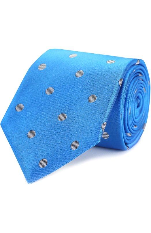 Купить Шелковый галстук с узором Canali, HJ00992/18, Италия, Голубой, Шелк: 100%;