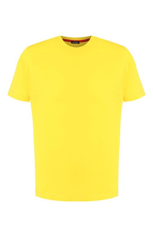 Хлопковая футболка с круглым вырезом Kiton, UK843, Италия, Желтый, Хлопок: 100%;  - купить