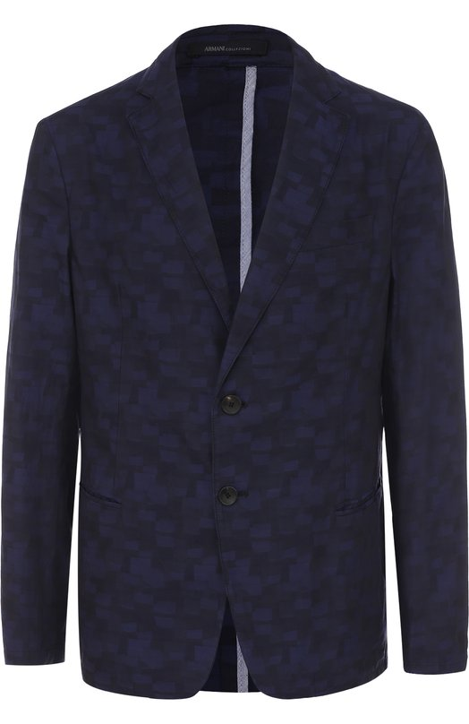 Хлопковый однобортный пиджак с принтом Armani Collezioni VCG160/VCS43