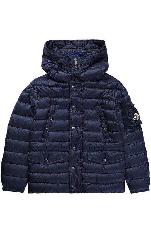 Пуховая куртка с капюшоном и накладным карманом Moncler Enfant C1-954-42329-99-53334/8-10