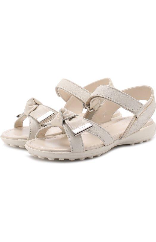 Кожаные сандалии с застежками велькро и бантом Tod's UXT0IU09990GK0