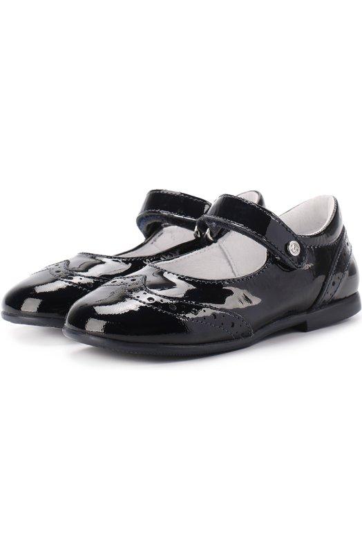 Туфли из лакированной кожи с застежкой велькро и брогированием Naturino 0012011024/02/VERNICE