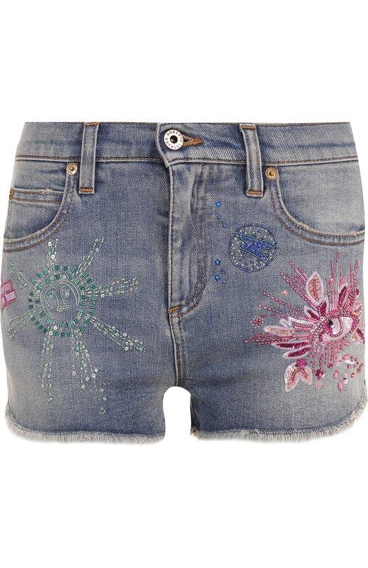 Джинсовые мини-шорты с потертостями и вышивкой Roberto Cavalli EQJ208/DS002