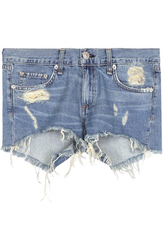 Купить Джинсовые мини-шорты с потертостями Rag&Bone, W1907K273WIN, США, Синий, Хлопок: 100%;