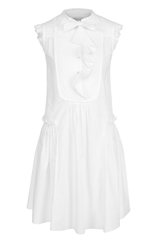 Хлопковое платье свободного кроя с оборками Moncler C1-093-68100-00-549CG