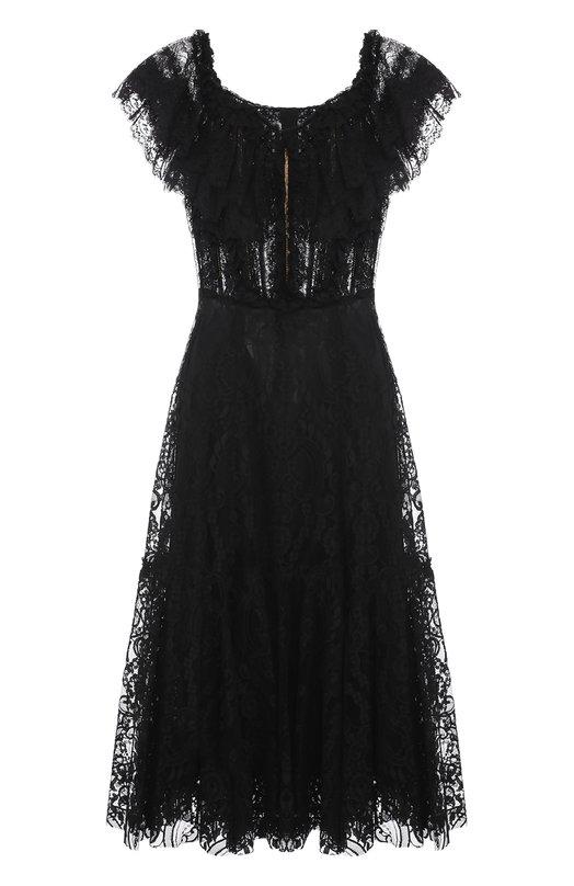 Купить Шелковое кружевное платье с открытыми плечами Dolce & Gabbana, 0102/F64Y5T/FLMUV, Италия, Черный, Шелк: 88%; Хлопок: 6%; Полиамид: 57%; Вискоза: 5%; Эластан: 4%;