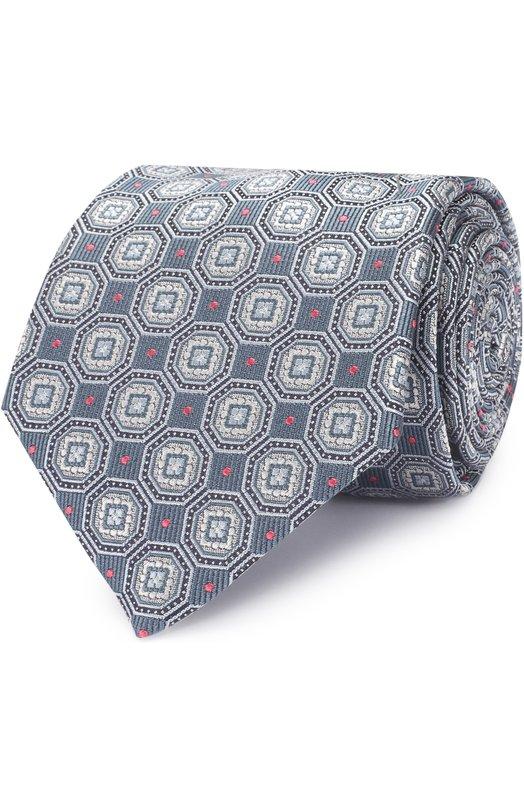 Купить Шелковый галстук с узором Brioni, 062I/P6476, Италия, Серый, Шелк: 100%;
