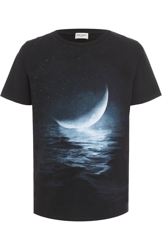 Хлопковая футболка с принтом Saint Laurent 466906/YB1FD