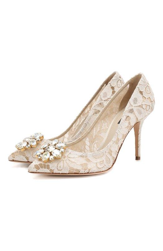 Кружевные туфли Rainbow Lace с брошью Dolce & Gabbana 0112/CD0101/AL198