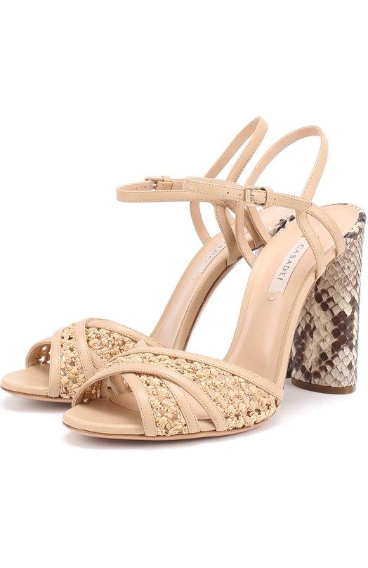 Плетеные босоножки на каблуке с отделкой из кожи питона Casadei 1L558G100/C747