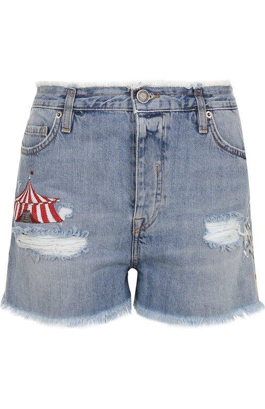 Джинсовые мини-шорты с потертостями и вышивкой Two Women In The World CHANTA/NL6NZ