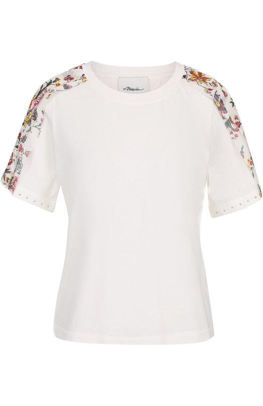 Хлопковая футболка с цветочной отделкой 3.1 Phillip Lim S171-13820CY