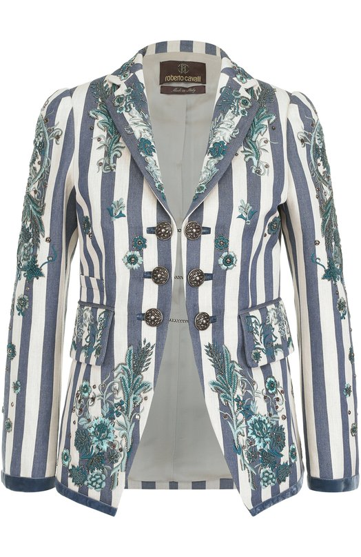 Купить Жакет в полоску с контрастной вышивкой Roberto Cavalli, EWR402/XQ003, Италия, Белый, Подкладка-вискоза: 57%; Пенька: 55%; Хлопок: 45%; Подкладка-полиэстер: 43%;