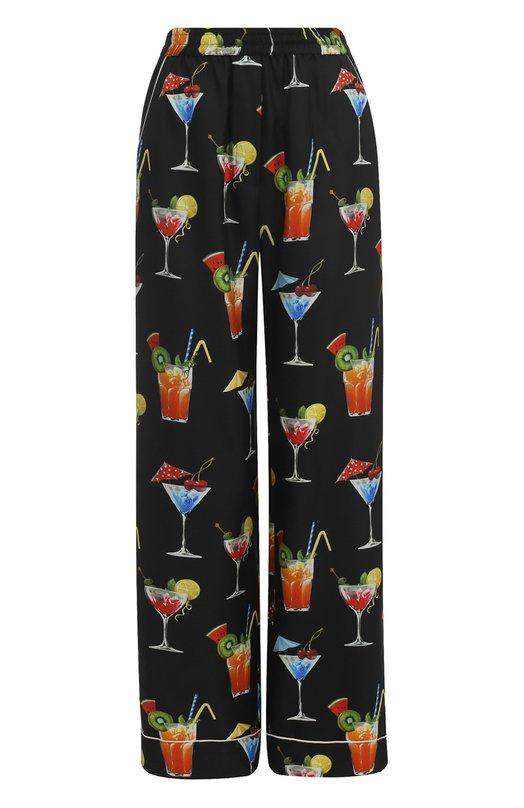Купить Шелковые брюки прямого кроя с принтом Dolce & Gabbana, 0102/FTA0RT/HS1ME, Италия, Черный, Шелк: 100%;