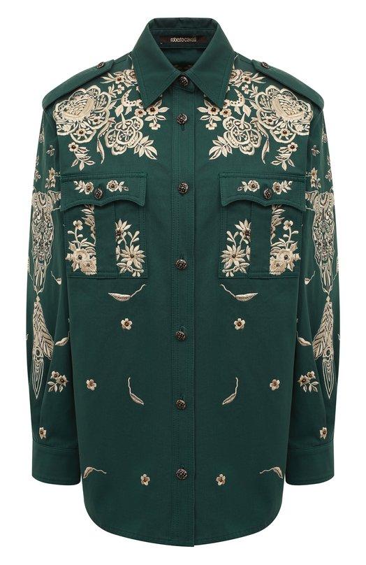 Блуза с накладными карманами и контрастной вышивкой Roberto Cavalli EWR711/FN021