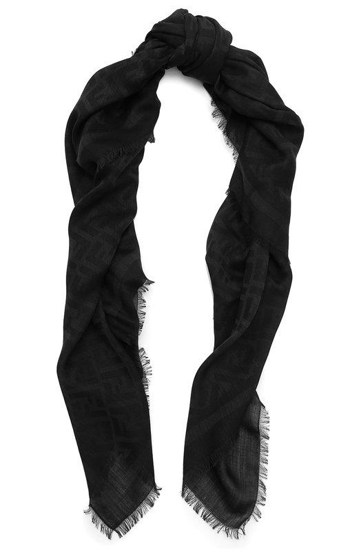Платок из смеси хлопка и шерсти с шелком Fendi FXS296/2TE