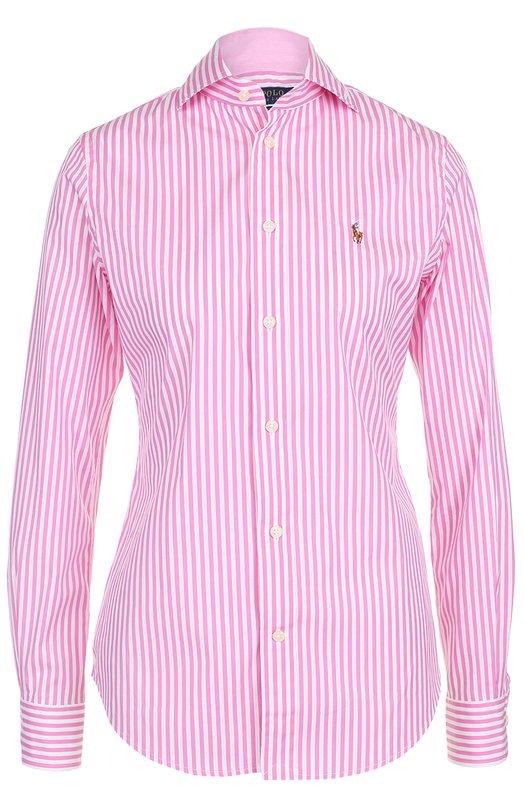 Приталенная хлопковая блуза в полоску Polo Ralph Lauren V33/XZ84X/XY84X