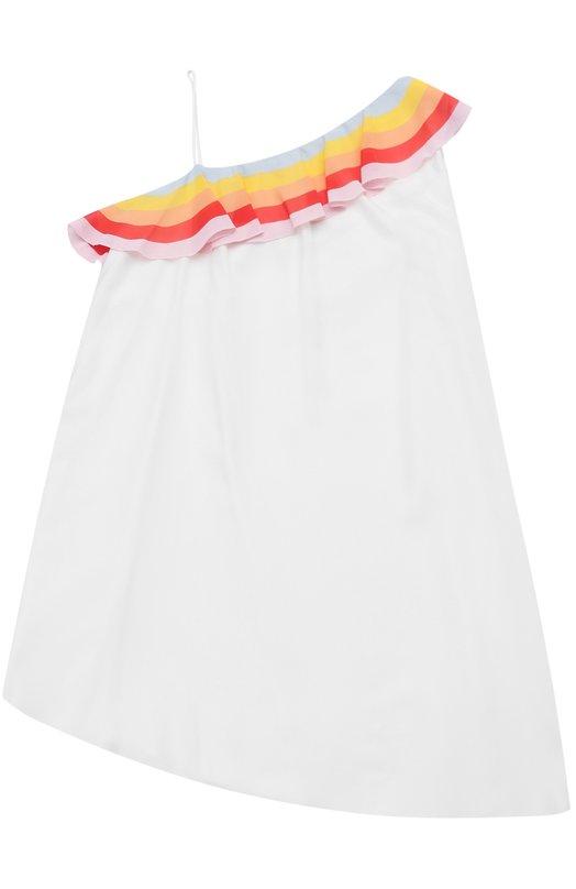 Платье асимметричного кроя с контрастной оборкой и открытым плечом Chlo C12619/6A-12A