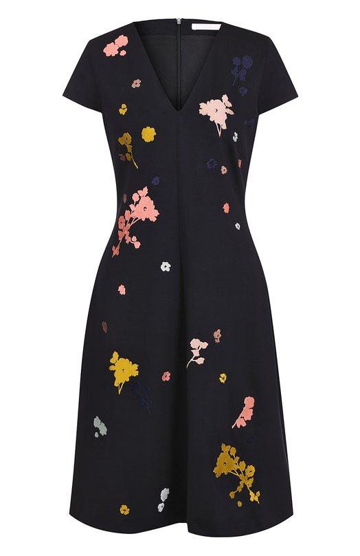 Платье с V-образным вырезом и контрастной вышивкой HUGO 50333073