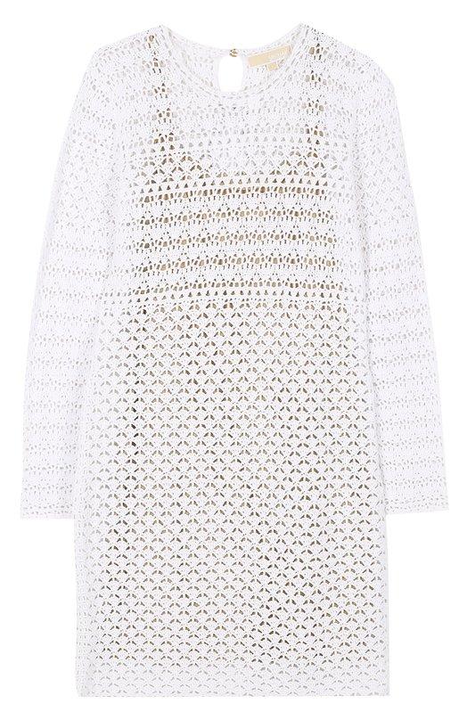 Купить Кружевное мини-платье с длинным рукавом MICHAEL Michael Kors, MS78WVG66P, Китай, Белый, Хлопок: 100%; Подкладка-полиэстер: 100%;
