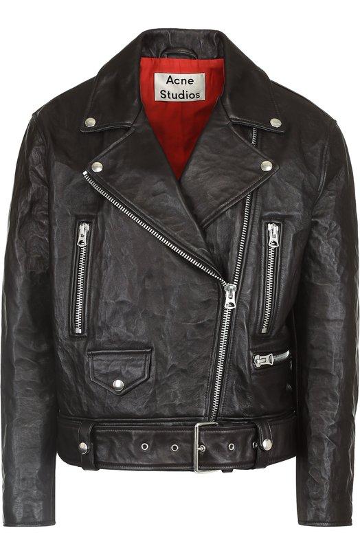 Кожаная куртка свободного кроя с косой молнией Acne Studios 1AC166
