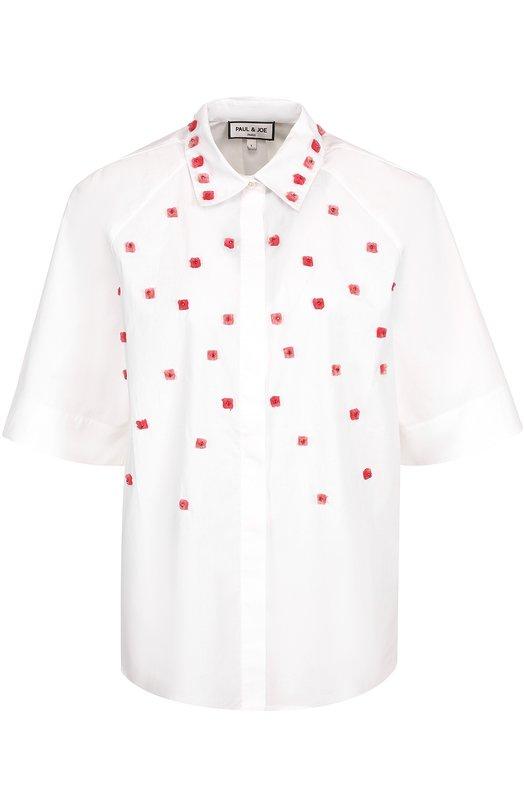 Шелковая блуза свободного кроя с декоративной отделкой Paul&Joe FL0TILLE