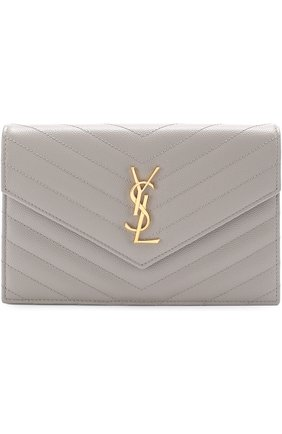Сумка Monogram Envelope mini из стеганой кожи Saint Laurent серого цвета | Фото №1