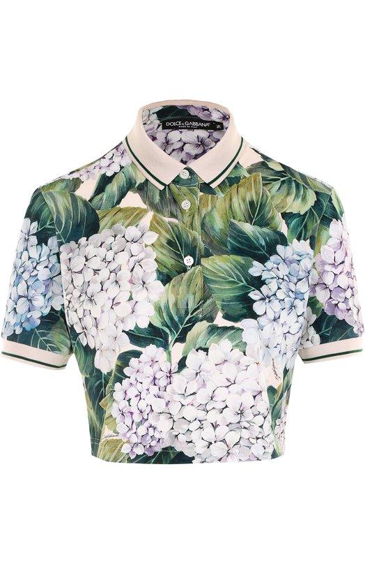 Укороченное поло с цветочным принтом Dolce & Gabbana 0102/F8I99T/FS7WN