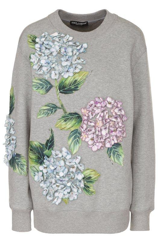 Свитшот свободного кроя с цветочной отделкой Dolce & Gabbana 0102/F9934Z/FU77G