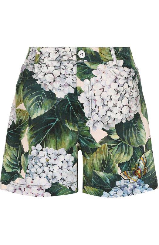 Хлопковые мини-шорты с цветочным принтом Dolce & Gabbana 0102/FTAVZZ/FSFE2