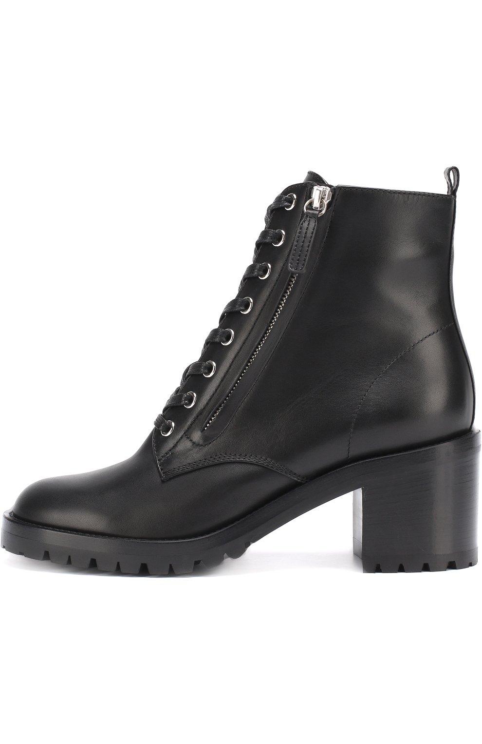 Черные кожаные полусапоги на молнии и шнуровке