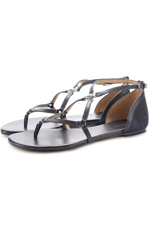 Кожаные сандалии Terri с вставкой из денима MICHAEL Michael Kors 40S7TEFA1D