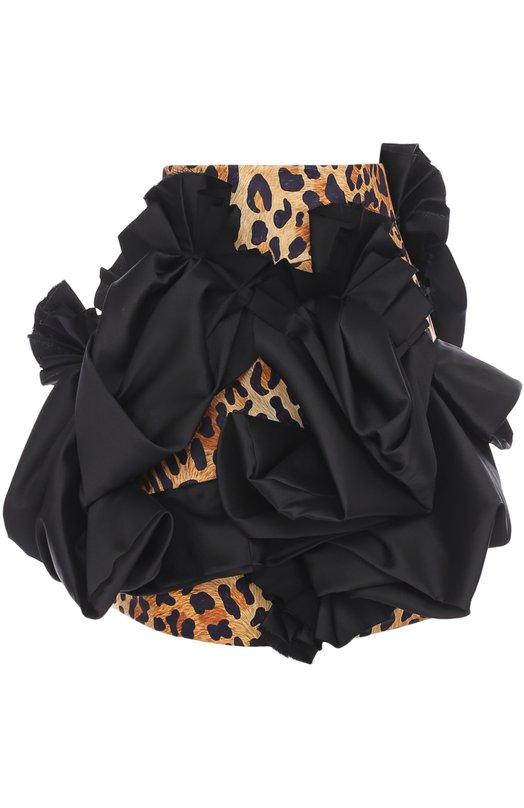 Мини-юбка с леопардовым принтом и декоративной отделкой Dsquared2 S73MA0434/S47825