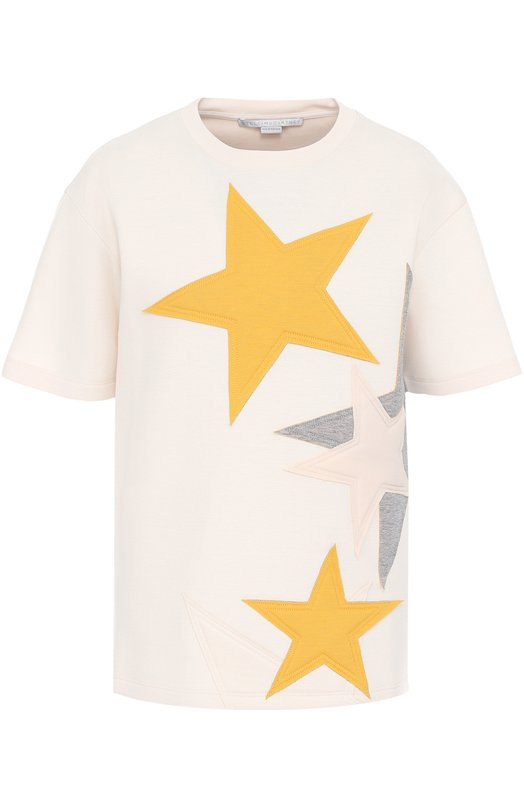 Хлопковая футболка с нашивками в виде звезд Stella McCartney 342365/SIW08
