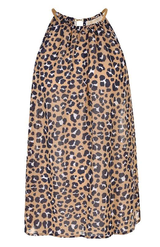 Топ свободного кроя с леопардовым принтом MICHAEL Michael Kors MS74L3V64C