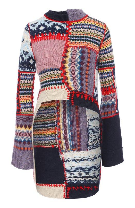 Купить Пуловер фактурной вязки с удлиненной спинкой Alexander McQueen, 471324/Q1WEL, Италия, Разноцветный, Шерсть: 91%; Кашемир: 9%;