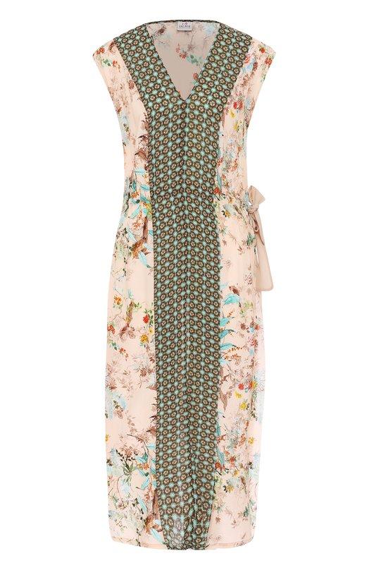 Приталенное платье с принтом и высокими разрезами Deha D53210
