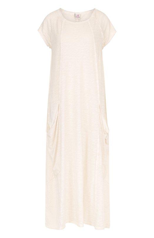 Купить Платье-макси свободного кроя с накладными карманами Deha, B54368, Тунис, Серый, Хлопок: 100%;