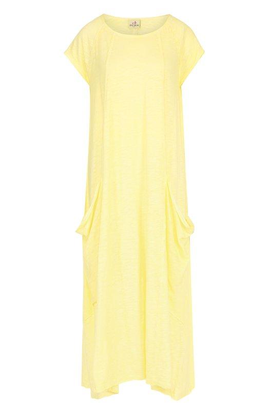 Купить Платье-макси свободного кроя с накладными карманами Deha, B54368, Тунис, Желтый, Хлопок: 100%;