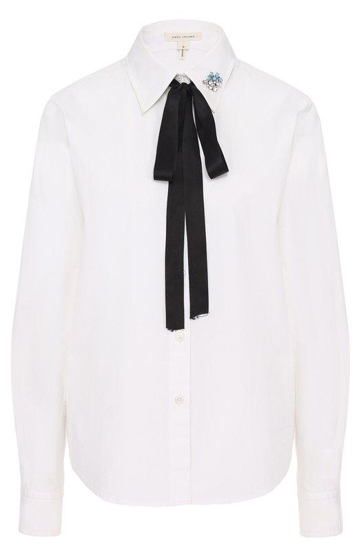 Хлопковая блуза с воротником аскот и брошью Marc Jacobs M4006431